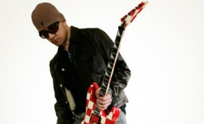 Dave Sharman and his red checkerboard Jackson